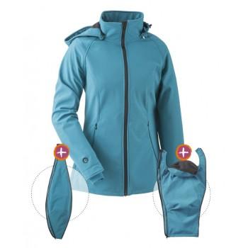 Kurtka Softshell dla dwojga, dla ciąży lub zwykła sportowa kurtka (MAMALILA, petrol)